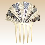 French Ivory Art Deco hair comb Spanish style hair accessory
