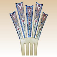 Art Deco French Ivory Egyptian Revival hair comb enhamel multi rhinestone hair accessory