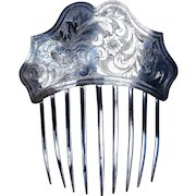 Early Victorian silver plated hair comb hair accessory