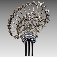 Silver gilt late Victorian hair comb asymmetric design hair accessory