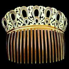 Edwardian French Ivory hair comb rhinestone hair accessory