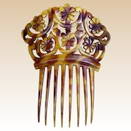 Victorian hair comb deeply carved steer horn Spanish style hair accessory