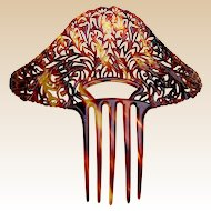 Oversized Art Deco hair comb faux tortoiseshell hair accessory