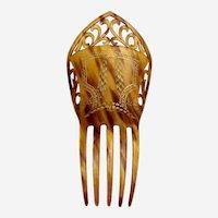 Victorian hair comb pierced gilded steer horn Spanish style hair accessory