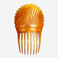 Victorian hair comb amber dyed steer horn Spanish style hair accessory