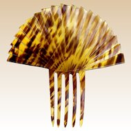 Oversized Art Deco hair comb fan shaped faux tortoiseshell hair accessory