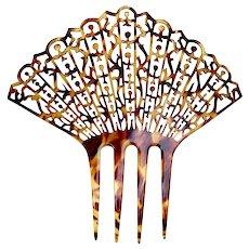 Oversized hair comb Art Deco lacy design faux tortoiseshell hair accessory