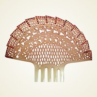 Art Deco hair comb Spanish style red rhinestone hair accessory