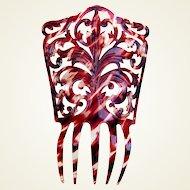 Spanish mantilla comb celluloid faux tortoiseshell hair accessory