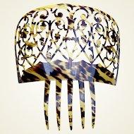 Spanish mantilla comb large celluloid faux tortoiseshell hair accessory