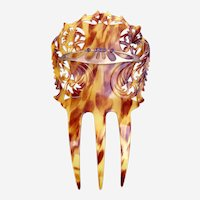 Art Nouveau hair comb faux tortoiseshell with 9ct gold embellishment hair accessory
