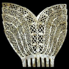 Oversized hair comb Art Deco mother of pearl effect Spanish mantilla style hair accessory
