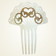 Art Deco hair comb French Ivory golden rhinestone Spanish style hair accessory