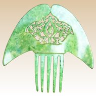 Hair comb Art Deco jade green Spanish style hair accessory