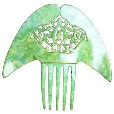 Hair comb Art Deco jade green Spanish style hair accessory