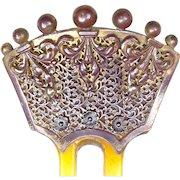 Antique hair comb Victorian steer horn hair accessory