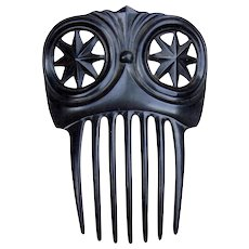 Black moulded hair comb Victorian mourning hair accessory