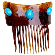 Art Nouveau faux tortoiseshell hair comb with faux turquoise cabochons hair accessory