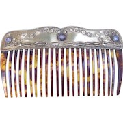 Vintage faux tortoiseshell hair comb with brass heading hair accessory