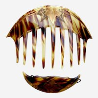 Art Nouveau hair comb and barrette matching set faux tortoiseshell gilded hair accessories