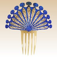 Art Deco hair comb Spanish style blue rhinestone celluloid hair accessory