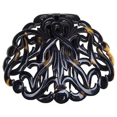 Victorian tortoiseshell hair comb carved and pierced hair accessory