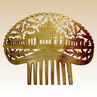 Steer horn hair comb with Indian temple Victorian Spanish style hair accessory