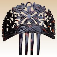 Victorian hair comb Spanish mantilla style carved faux tortoiseshell hair accessory