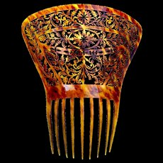 Regency hair comb pierced steer horn Spanish style hair accessory