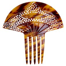 Art Deco hair comb faux tortoiseshell Spanish style hair accessory