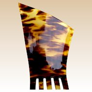 Oversized Art Deco hair comb faux tortoiseshell wedge shape hair accessory