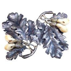 Art Nouveau boxed belt buckle silver leaves German Jugendstil dress accessory - Red Tag Sale Item