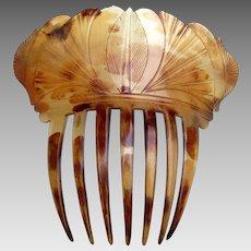 Regency hair comb pressed steer horn Spanish style hair accessory