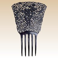 French Jet hair comb Victorian mourning Spanish style hair accessory