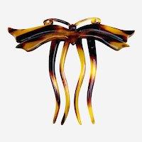 Art Nouveau hair comb faux tortoiseshell figural butterfly hair accessory