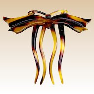 Art Nouveau hair comb faux tortoiseshell figural butterfly hair accessory