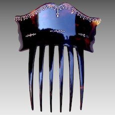 Victorian faux tortoiseshell hair comb with pique inlay Spanish style hair accessory