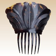 Regency natural pressed tortoiseshell hair comb Spanish style hair accessory