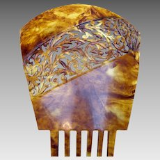 Oversized Art Deco Hair Comb Faux Tortoiseshell Spanish Mantilla Style Hair Accessory