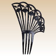 Asymmetric hair comb Victorian mourning French Jet hair accessory