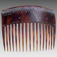 Antique steer horn hair comb with gold pique inlay hair ornament