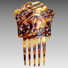Spanish style hair comb celluloid faux tortoiseshell Art Nouveau hair accessory