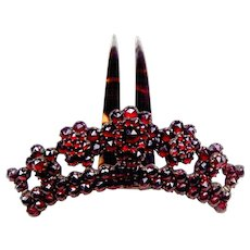 Victorian pyrope garnet tiara style hair comb hair accessory - Red Tag Sale Item