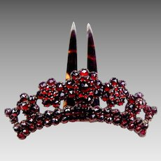 Victorian pyrope garnet tiara style hair comb hair accessory