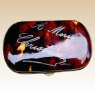 Victorian faux tortoiseshell Merry Christmas change purse with pique inlay