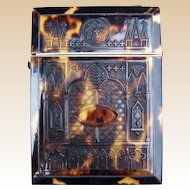 Victorian visiting card case moulded faux tortoiseshell dress accessory