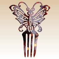 Figural butterfly hair comb Art Nouveau faux tortoiseshell hair accessory
