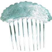Early Victorian hair comb silver plated engraved hair accessory