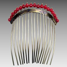 Regency gilded metal hair comb with faceted coral beads hair accessory