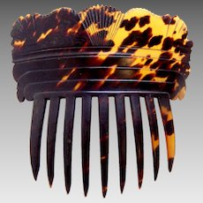 Victorian hair comb natural tortoiseshell Spanish style hair accessory